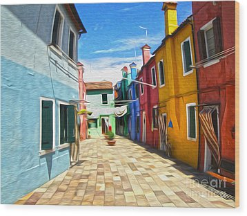 Venice Italy - Burano Island Alley Wood Print by Gregory Dyer