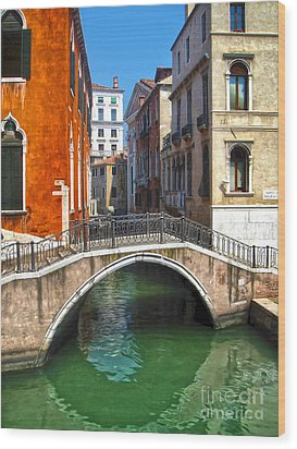 Venice Italy - Canal Bridge Wood Print by Gregory Dyer