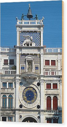 Venice Italy - Clock Tower Wood Print by Gregory Dyer