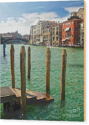 Venice Italy - Grand Canal View Wood Print by Gregory Dyer