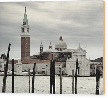 Venice Italy - San Giorgio Maggiore Island - 02 Wood Print by Gregory Dyer