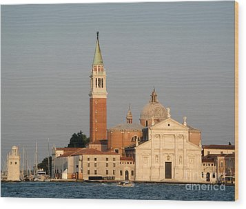 Venice Italy - San Giorgio Maggiore Island At Sunset Wood Print by Gregory Dyer