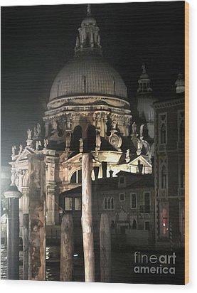 Venice Italy - Santa Maria Della  Salute At Night Wood Print by Gregory Dyer