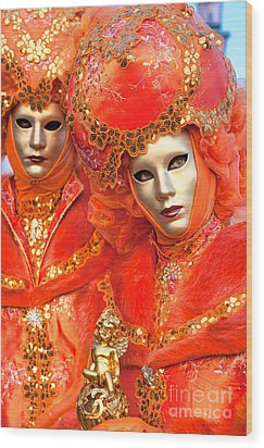 Wood Print featuring the photograph Venice Masks by Luciano Mortula