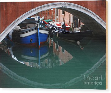 Venice Reflections 2 Wood Print by Bob Christopher