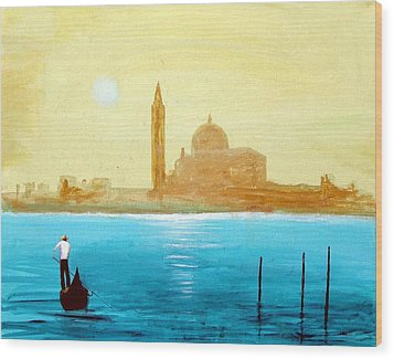 Wood Print featuring the painting Venice Sunset by Larry Cirigliano