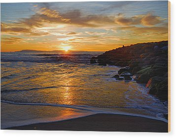Ventura Beach Sunset Wood Print by Lynn Bauer
