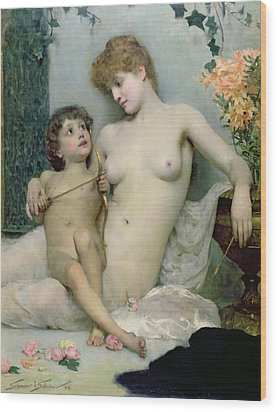 Venus And Cupid Wood Print by Solomon Joseph Solomon