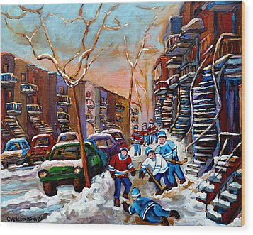 Verdun Montreal Hockey Game Near Winding Staircases And Row Houses Montreal Winter Scene Wood Print by Carole Spandau