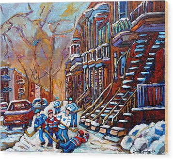 Verdun Street Scene Hockey Game Near Winding Staircases Vintage Montreal City Scene Wood Print by Carole Spandau