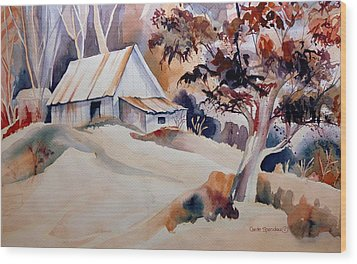 Vermont Sugar Shack Cabin In Winter Wood Print by Carole Spandau
