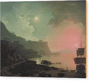 Vesuvius From Posillipo Wood Print by Joseph Wright of Derby
