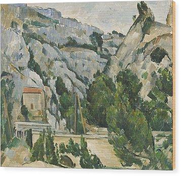 Viaduct At L'estaque Wood Print by Paul Cezanne