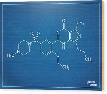 Viagra Molecular Structure Blueprint Wood Print by Nikki Marie Smith