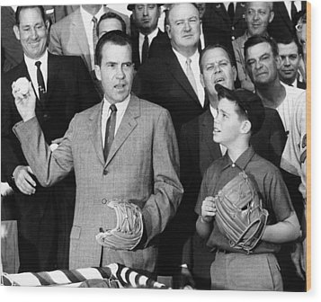 Vice President Nixon Officially Opens Wood Print by Everett