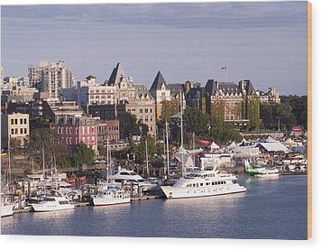 Wood Print featuring the photograph Victoria B.c. Cityscape by MaryJane Armstrong