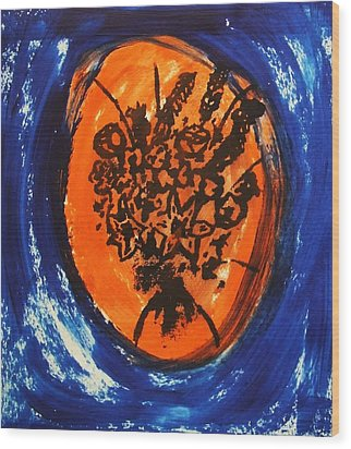 Wood Print featuring the painting Victorian Contemporary Flowers In Blue And Orange Vortex Swirls Acrylic Monoprint Serigraph by M Zimmerman