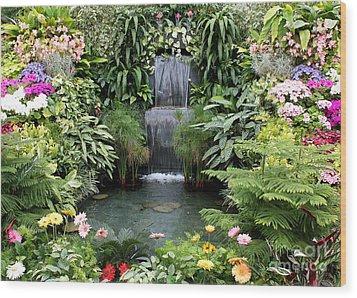 Victorian Garden Waterfall - Digital Art Wood Print by Carol Groenen