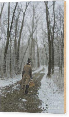 Victorian Gentleman Walking Through Woods Wood Print by Jill Battaglia