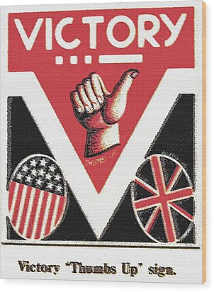 Victory Sign Wood Print by Steve Ohlsen