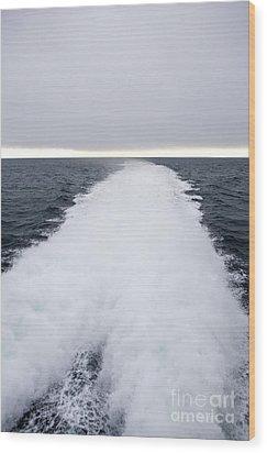 View From Back Of Ferry, Strait Of Juan De Fuca, Washington Wood Print by Paul Edmondson
