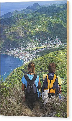 Wood Print featuring the photograph View From Petit Piton- St Lucia  by Chester Williams