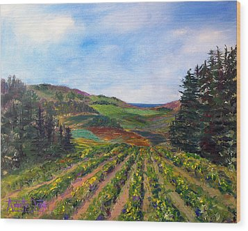 View From Soquel Vineyards Wood Print by Annette Dion McGowan