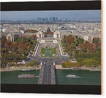 View From The Second  Floor Of Eiffel Tower Wood Print by Anna A. Krømcke