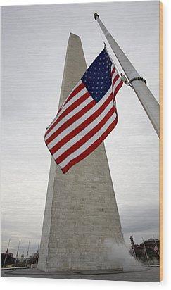 View Of American Flag Wood Print by Tim Laman