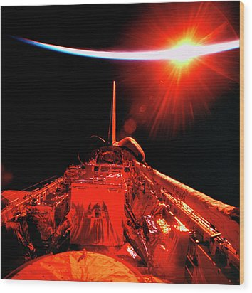 View Of An Eclipse From Space Wood Print by Stockbyte