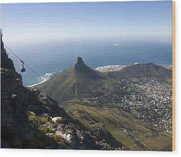View Of Cape Town From Table Mountain Wood Print by Stacy Gold