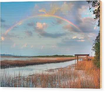 View Of Charleston Rainbow  Wood Print by Jenny Ellen Photography