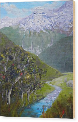 View Of Chinamans Bluff Nz Wood Print