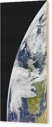 View Of Earth From Space Showing Wood Print by Stocktrek Images