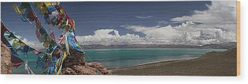 View Of Freshwater Lake Manasarovar Wood Print by Phil Borges