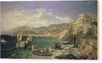 View Of Genoa Wood Print by William Parrott