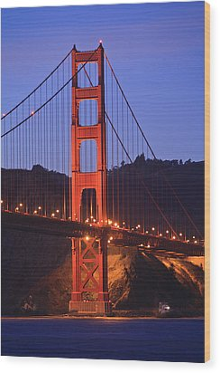 View Of Golden Gate Bridge At Dusk San Wood Print by Stuart Westmorland