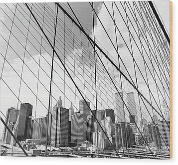 View Of New York From Brooklyn Bridge, Usa Wood Print by Martin Child