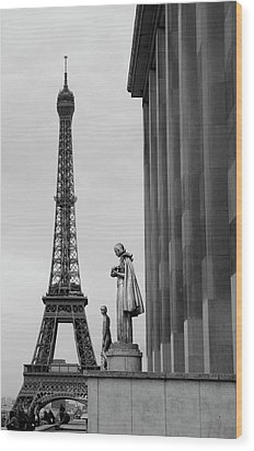 View Of Paris France With Eiffel Tower Wood Print by Win Initiative