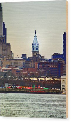 View Of Philadelphia City Hall From Camden Wood Print by Bill Cannon