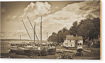 View Of Pin Mill From King's Yard Sepia Wood Print by Gary Eason