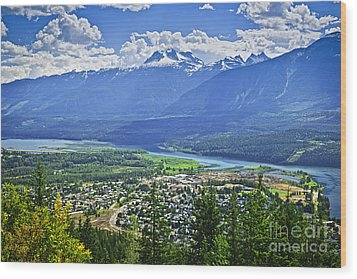 View Of Revelstoke In British Columbia Wood Print by Elena Elisseeva