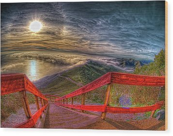 View Of Sun Into Sea At Marin Headlands Wood Print by Image by Sean Foster