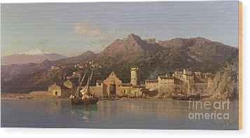 View Of Taormina Sicily Wood Print by Alessandro la Volpe