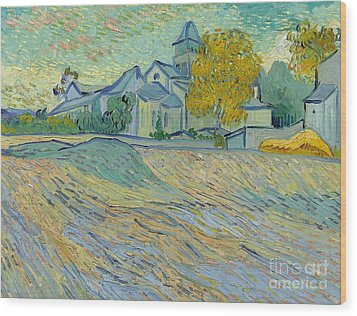 View Of The Asylum And Chapel At Saint Remy Wood Print by Vincent Van Gogh