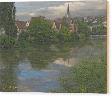 View Of The Cathedral In Rottenburg On Neckar Wood Print by Nikolay Vakatov