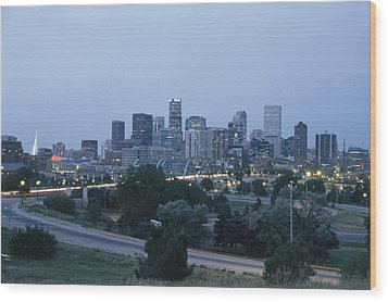 View Of The Denver Skyline At Twilight Wood Print by Richard Nowitz