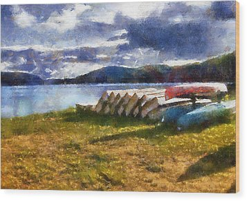 Wood Print featuring the painting View Of The Lake From Camp Dorset by Mario Carini