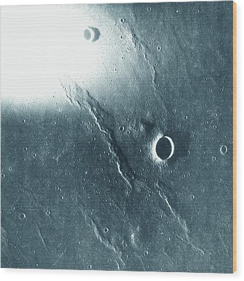 View Of The Landscape Of The Moon Wood Print by Stockbyte