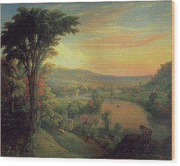 View Of The Mohawk Near Little Falls Wood Print by Mannevillette Elihu Dearing Brown